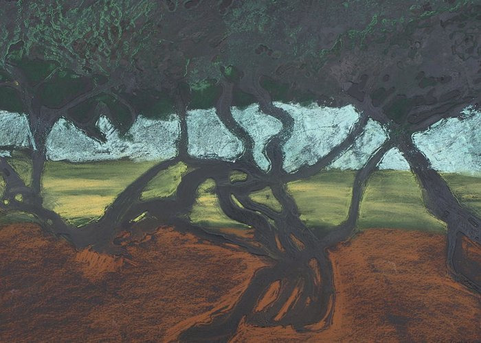 Contemporary Tree Landscape Greeting Card featuring the mixed media La Jolla II by Leah Tomaino