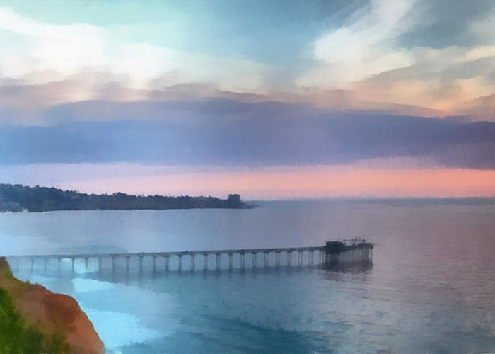 Pier; Scripps; Framed; Sunset; Tides; Waves; Rocks; Shelf; California; La Jolla; Coast; Sea; Ocean; Seascape; Clouds; Photographs; Paintings; Beach; Waves; Shoreline; Landscape; Aerial; Coastal; California; San Diego; La Jolla Beach Greeting Card featuring the painting La Jolla Scripps Pier by Russ Harris