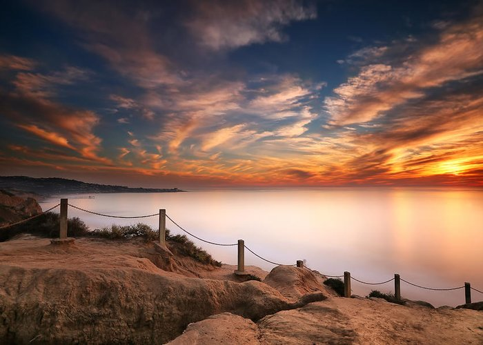 Sun Greeting Card featuring the photograph La Jolla Sunset by Larry Marshall