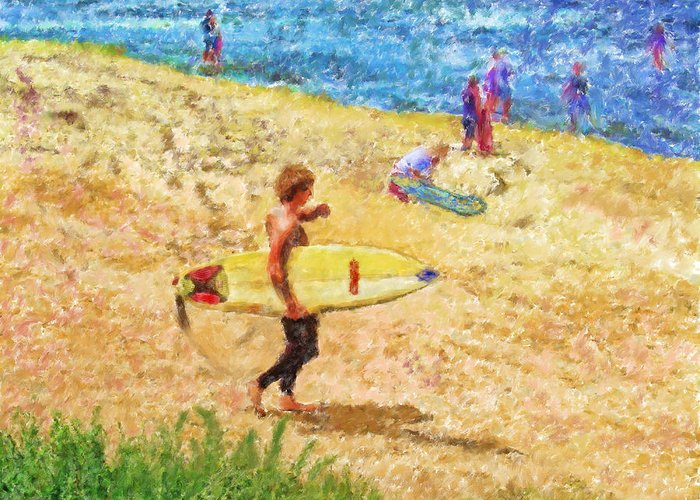 Surfers Greeting Card featuring the mixed media La Jolla Surfers by Marilyn Sholin