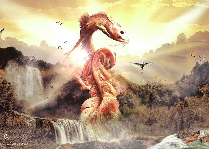 La Leyenda Del Koi Dragon Greeting Card for Sale by Juan Pablo ...