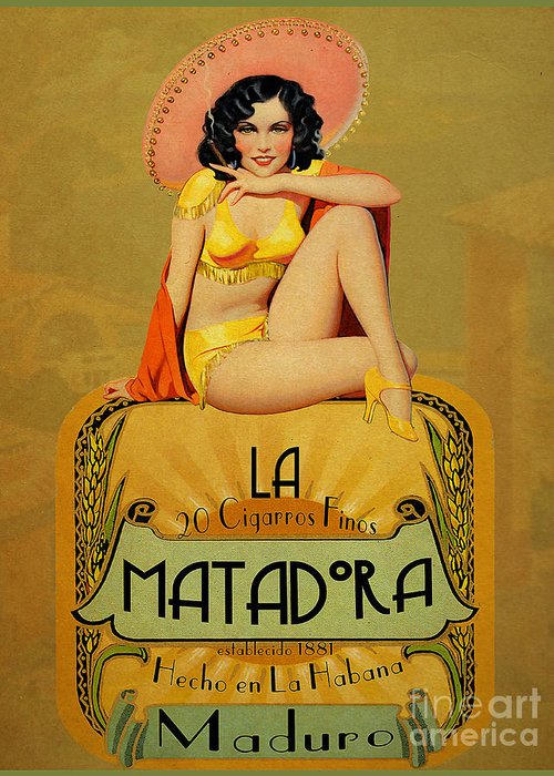 Vintage Greeting Card featuring the painting la Matadora by Cinema Photography