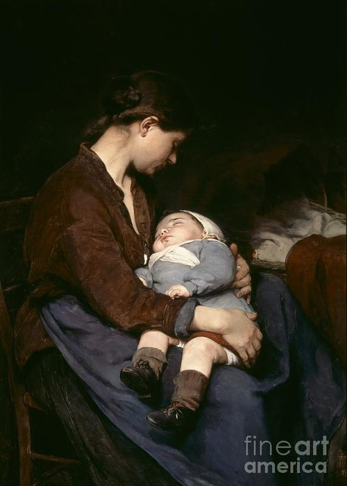 Mother And Child Greeting Card featuring the painting La Mere by Elizabeth Nourse