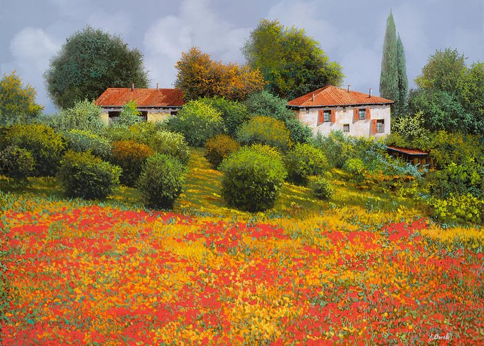 Summer Greeting Card featuring the painting La Nuova Estate by Guido Borelli