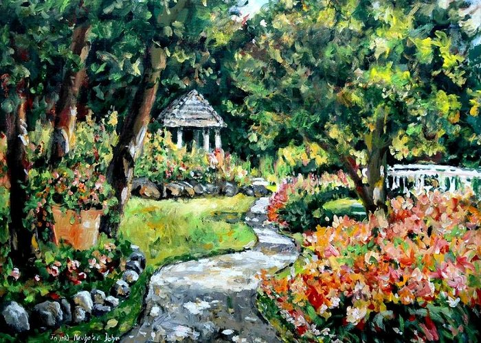 Landscape Greeting Card featuring the painting La Paloma Gardens by Alexandra Maria Ethlyn Cheshire