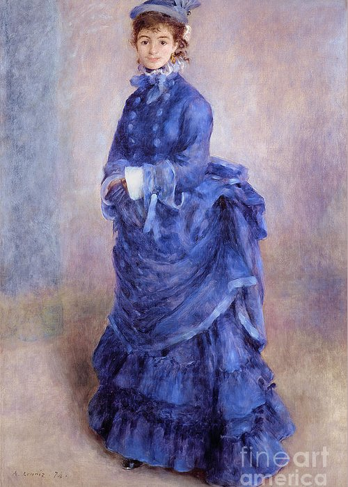 Blue Dress Paintings Greeting Cards