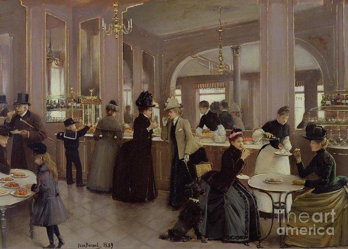 La Patisserie Gloppe Greeting Card featuring the painting La Patisserie by Jean Beraud
