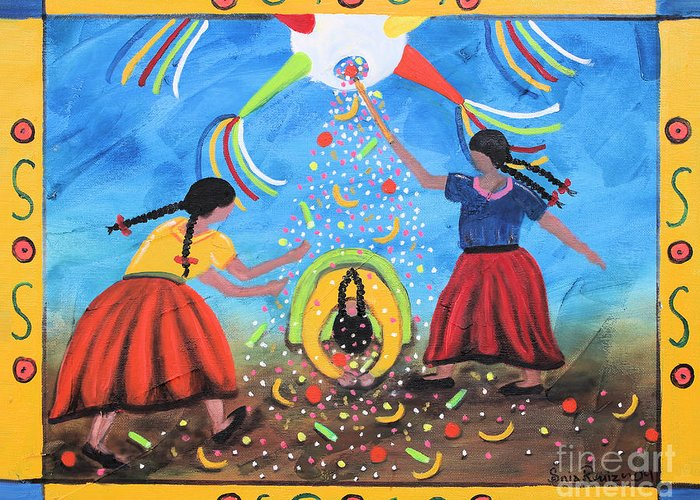 Mexican Art Greeting Card featuring the painting La Pinata by Sonia Flores Ruiz