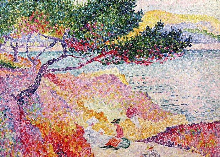La Plage De Saint-clair Greeting Card featuring the painting La Plage De Saint-clair by Henri-Edmond Cross