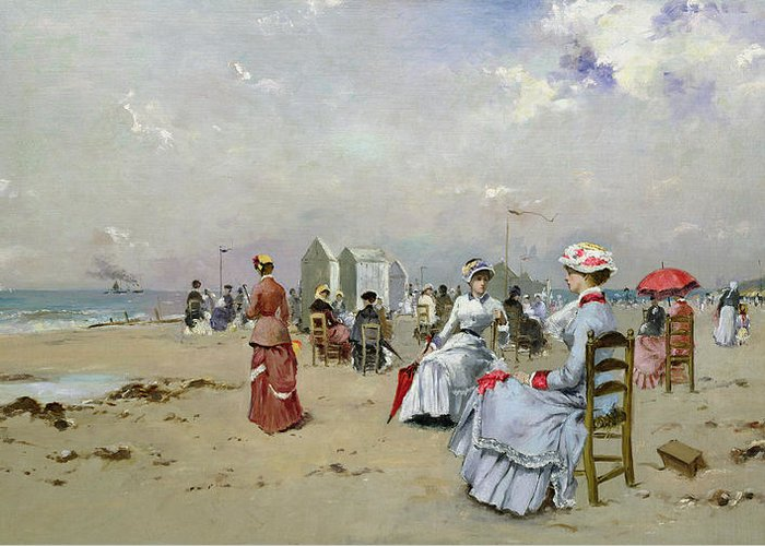 Plage Greeting Card featuring the painting La Plage De Trouville by Paul Rossert
