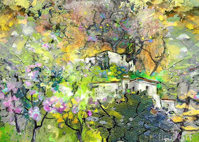 Landscape Painting Greeting Card featuring the painting La Provence 07 by Miki De Goodaboom