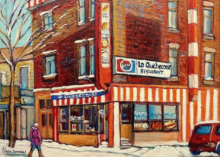 La Quebecoise Restaurant Deli Greeting Card featuring the painting La Quebecoise Restaurant Deli by Carole Spandau