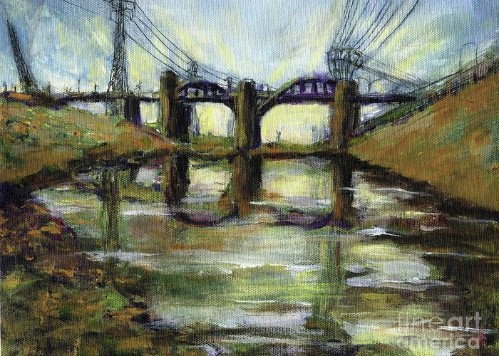 Urban. Blight Greeting Card featuring the painting LA River 6th Street Bidge by Randy Sprout