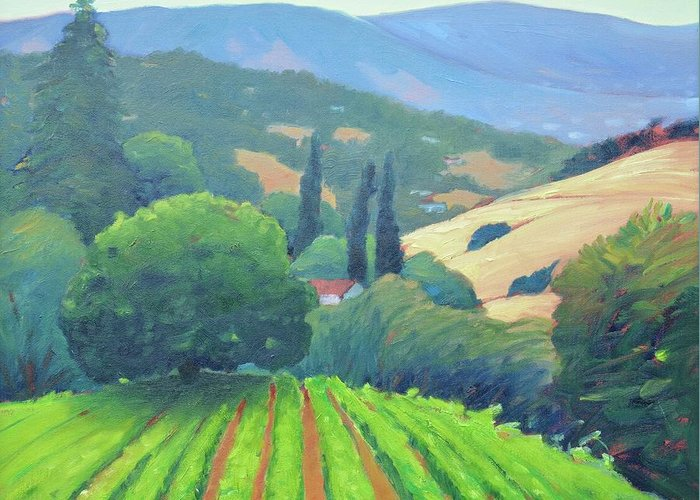 Vinyard Greeting Card featuring the painting La Rusticana Afternoon. by Gary Coleman