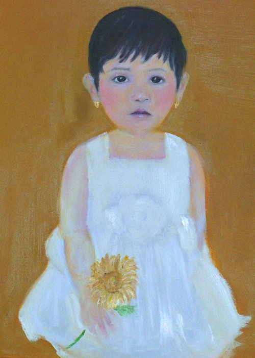 Child Greeting Card featuring the painting La Senorita And The Sunflower by Michela Akers