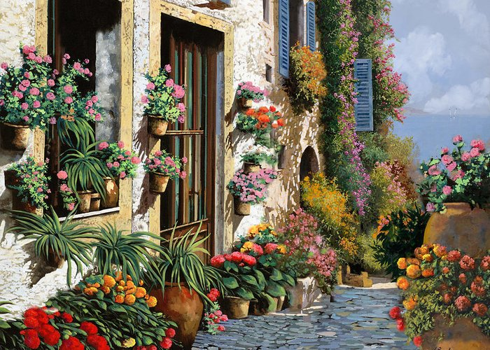 Seascape Greeting Card featuring the painting La Strada Del Lago by Guido Borelli