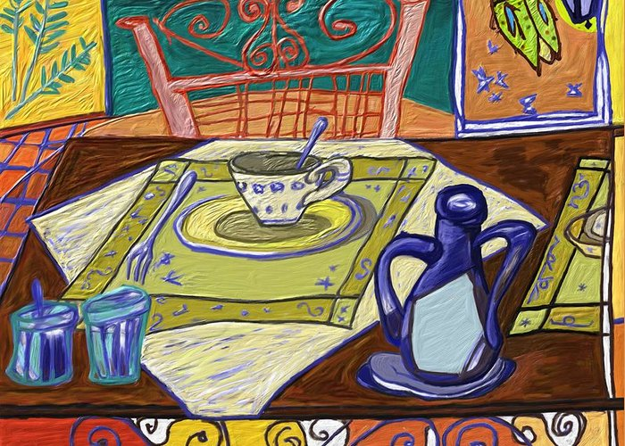 Still Life Greeting Card featuring the painting La taula by Xavier Ferrer