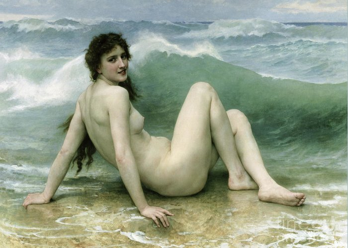La Vague Greeting Card featuring the painting La Vague by William Adolphe Bouguereau