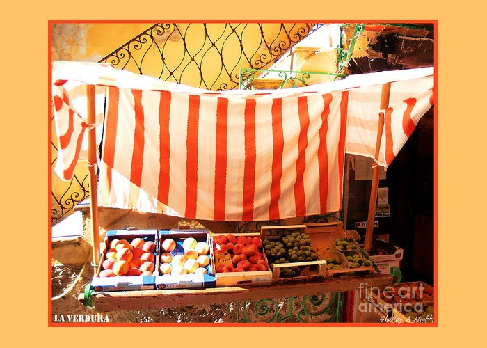 Market Greeting Card featuring the photograph La Verdura by Shelley A Aliotti