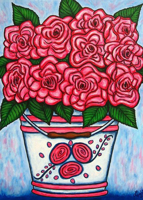 Rose Greeting Card featuring the painting La Vie En Rose by Lisa Lorenz