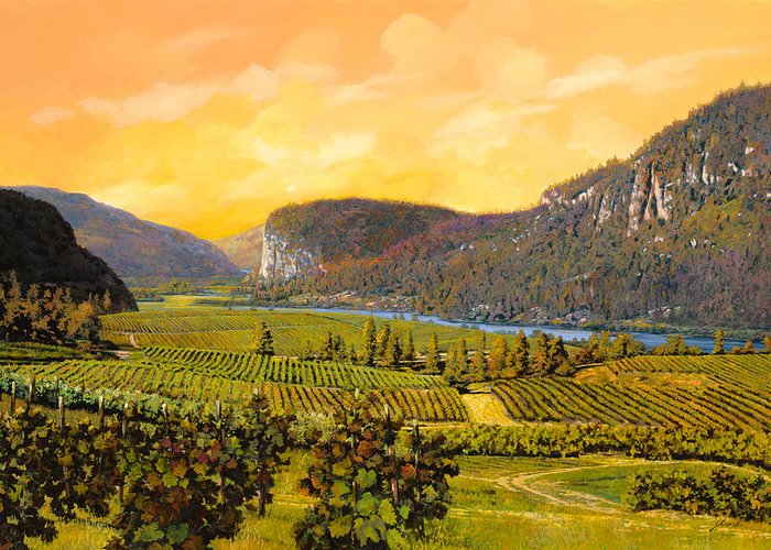 Wine Greeting Card featuring the painting La Vigna Sul Fiume by Guido Borelli