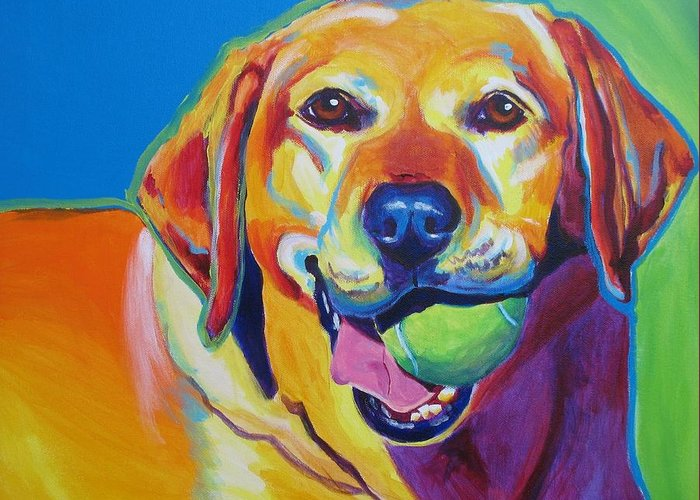 Labrador Greeting Card featuring the painting Lab - Bud by Alicia VanNoy Call