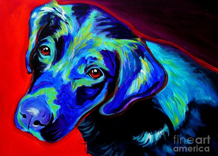 Dog Greeting Card featuring the painting Lab - Canyon by Alicia VanNoy Call