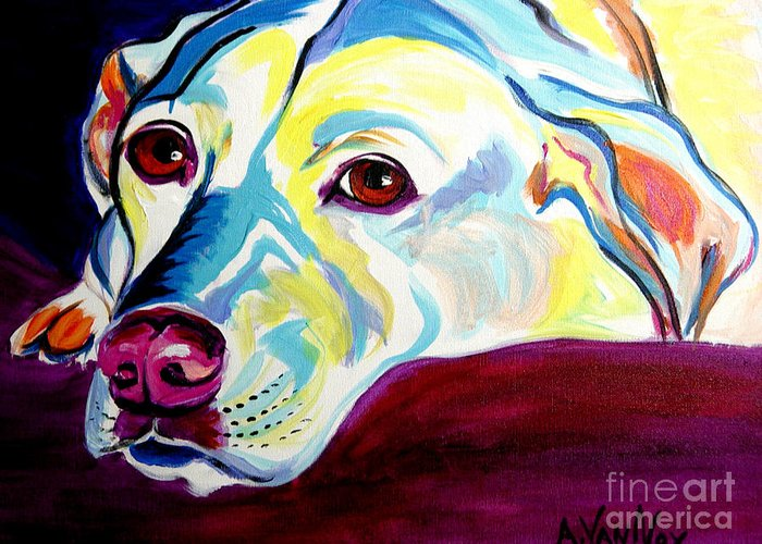 Dog Greeting Card featuring the painting Lab - Luna by Alicia VanNoy Call