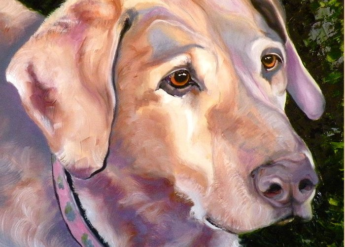Yellow Lab Paintings Greeting Card featuring the painting Lab One Of A Kind by Susan A Becker