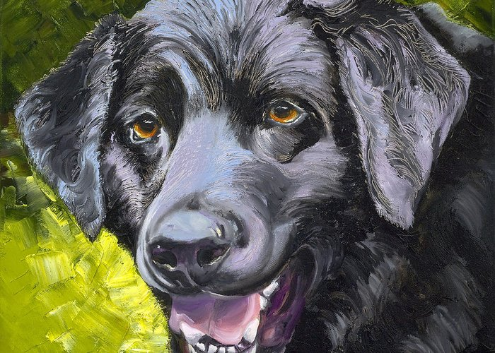 Labrador Retriever Greeting Card featuring the painting Lab Out Of The Pond by Susan A Becker