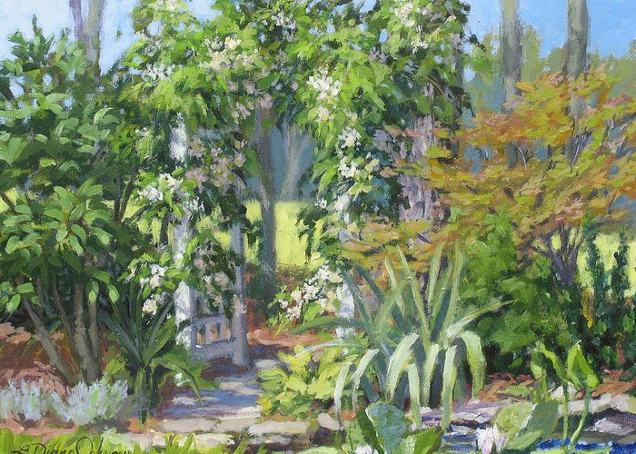 Lush Garden Arbor Greeting Card featuring the painting Labor Of Love by L Diane Johnson