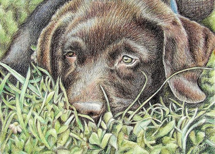 Dog Greeting Card featuring the pastel Labrador Puppy by Nicole Zeug