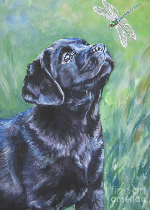 Dog Greeting Card featuring the painting Labrador Retriever Pup And Dragonfly by Lee Ann Shepard