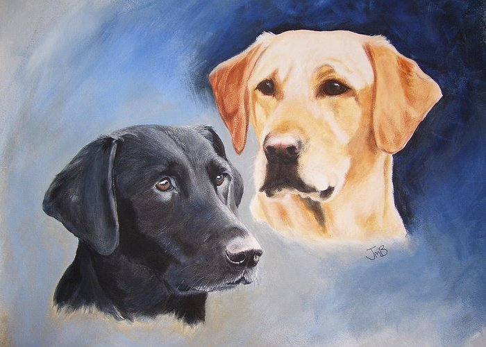 Greeting Card featuring the painting Labrador Retrievers Zoom And Kes by Janice M Booth