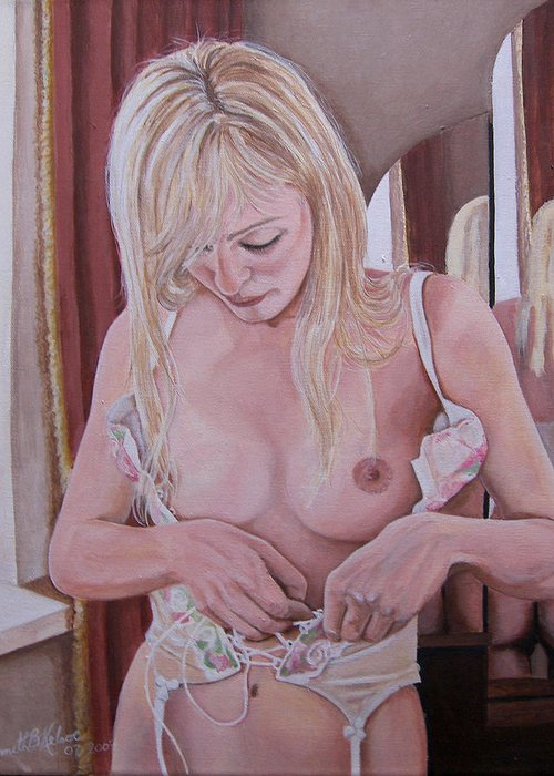 Nude Greeting Card featuring the painting Lacing Corset by Kenneth Kelsoe