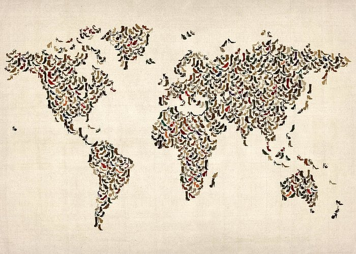 World Map Greeting Card featuring the digital art Ladies Shoes Map Of The World Map by Michael Tompsett