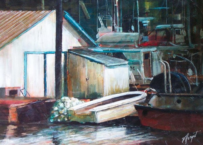 Harbour Greeting Card featuring the painting Ladner Harbour by Victoria Heryet