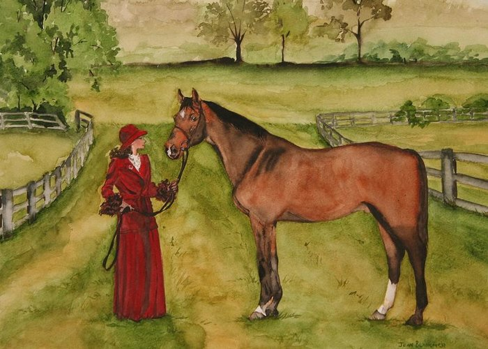 Horse Greeting Card featuring the painting Lady and Horse by Jean Blackmer