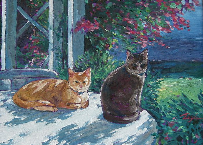 Pet Portraits Greeting Card featuring the painting Lady And Lucy by Karen Doyle