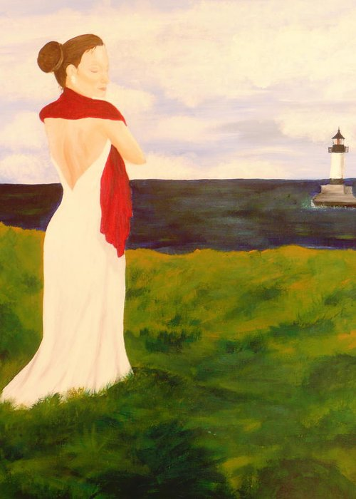 Woman Greeting Card featuring the painting Lady At The Ocean by Jennifer Hernandez