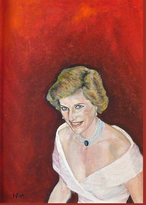 Portrait Greeting Card featuring the painting Lady Di by Aymeric NOA