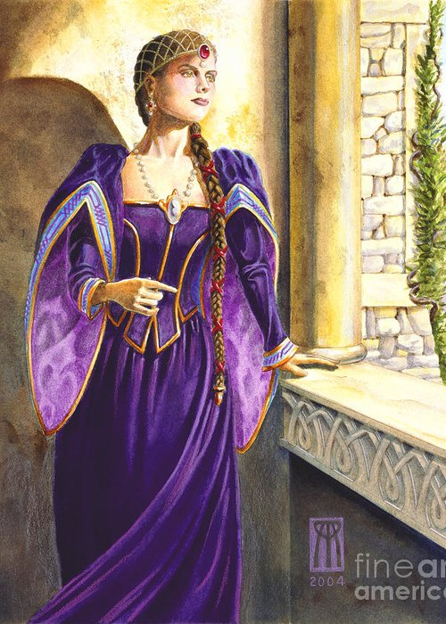 Camelot Greeting Card featuring the painting Lady Ettard by Melissa A Benson
