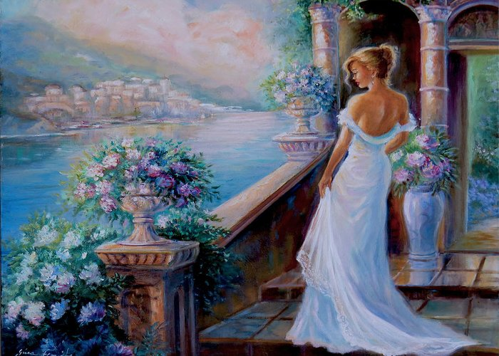 Villa By The Sea Paintings Greeting Cards