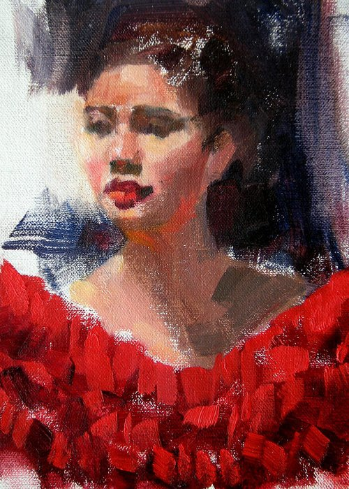 Portrait Greeting Card featuring the painting Lady In Red by Merle Keller