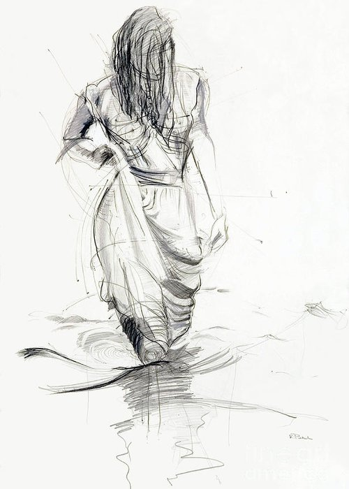 Woman Greeting Card featuring the drawing Lady In The Waters by Kerryn Madsen-Pietsch