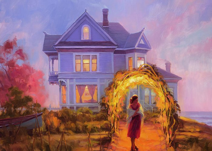 Woman Greeting Card featuring the painting Lady In Waiting by Steve Henderson