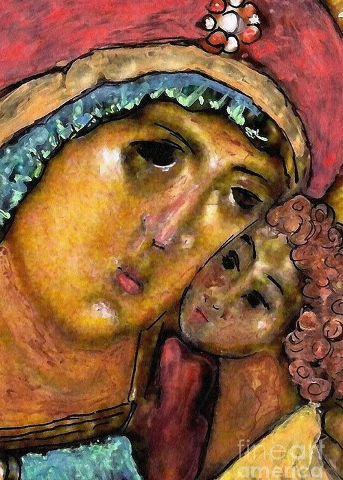 Virgin Mary Greeting Card featuring the painting Lady Joy by Sarah Loft