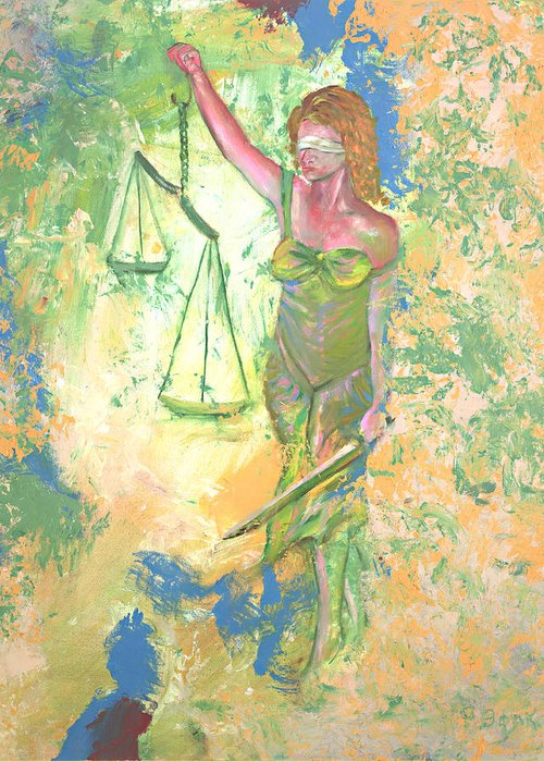 Ladyjustice Greeting Card featuring the painting Lady Justice And The Man by Peter Bonk