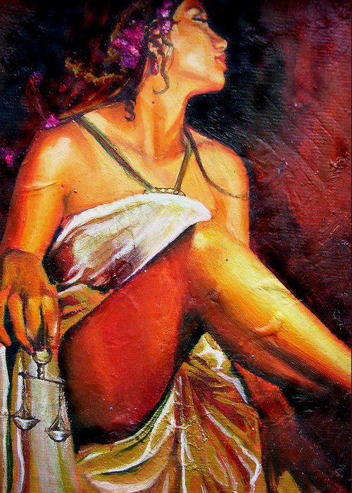 Law Art Greeting Card featuring the painting Lady Justice Mini by Laura Pierre-Louis