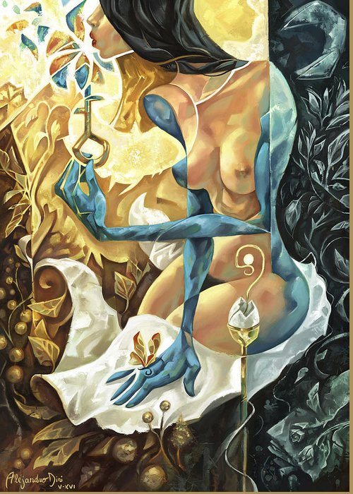Blue Greeting Card featuring the painting Lady of The Key by Alejandro Dini